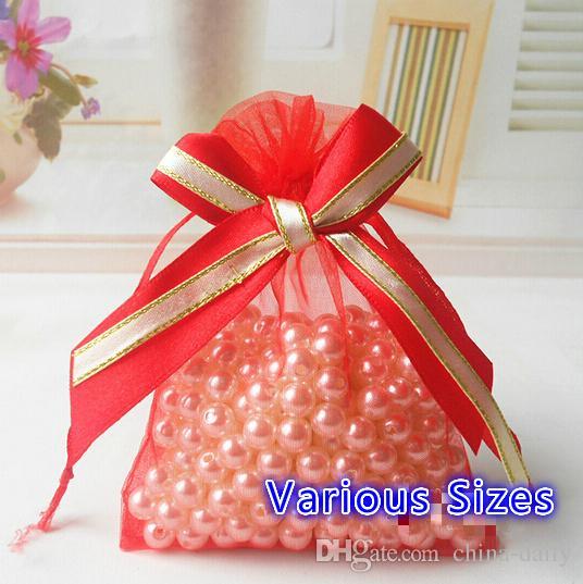 Liberi la nave vari formati sacchetti di organza nastro bowknot affari sacchetto di imballaggio promozionale bustina caramelle perline sacchetti regalo di natale