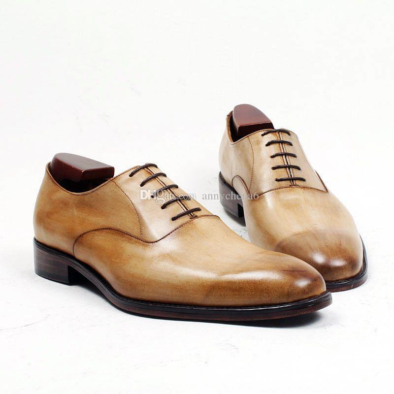 05d123d72 Compre Homens Sapatos De Vestido Sapatos Oxfords Dedo Do Pé Redondo Sapatos  Masculinos Sapatos Feitos À Mão Feitos Sob Encomenda Couro Genuíno De  Bezerro ...