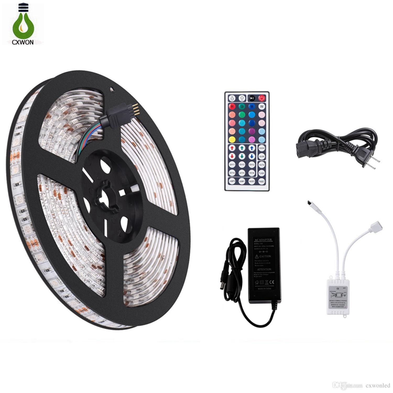 5050 luce di striscia LED RGB impermeabile flessibile 5m 44key IR Remote Alimentatore controllore e 12V 5A tutto in un set