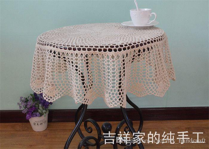 Gratis frakt Bomull Virka Beige 90cm Rundtbord Tyg för Bröllop Lace Table Cover Handduk Overlay för heminredning