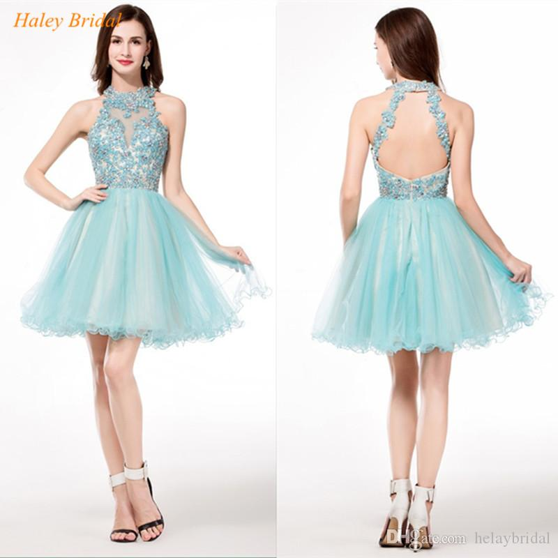 high neck sweet plus size 16 homecoming dresses beaded lace
