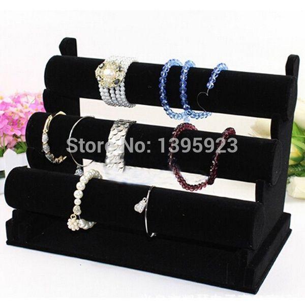 3 Tier Black Velvet Bracelet Chain Watch TBar Rack Jewelry