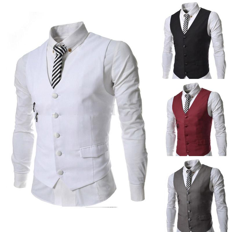 2015 New Arrival Casual Men Wedding Vest Mens Formal Dress Slim Fit