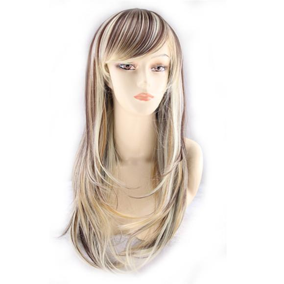 WoodFestival synthetic wigs women slightly wavy heat resistant fiber wig high quality cheap wigs lady long mix color wig blonde