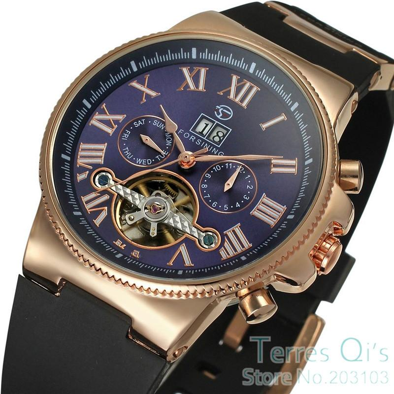 2015 Luxury Forsining Watches Men Day Roman Number Flywheel Blue ...