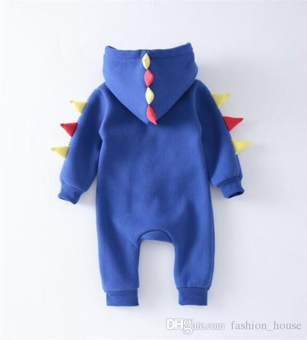 Dinosaur Onesie Newborn Infant Baby Boys Girls WARM Dinosaur Hooded Romper Winter Clothes For Boy Fleece Thick Jumpsuit Clothes A08