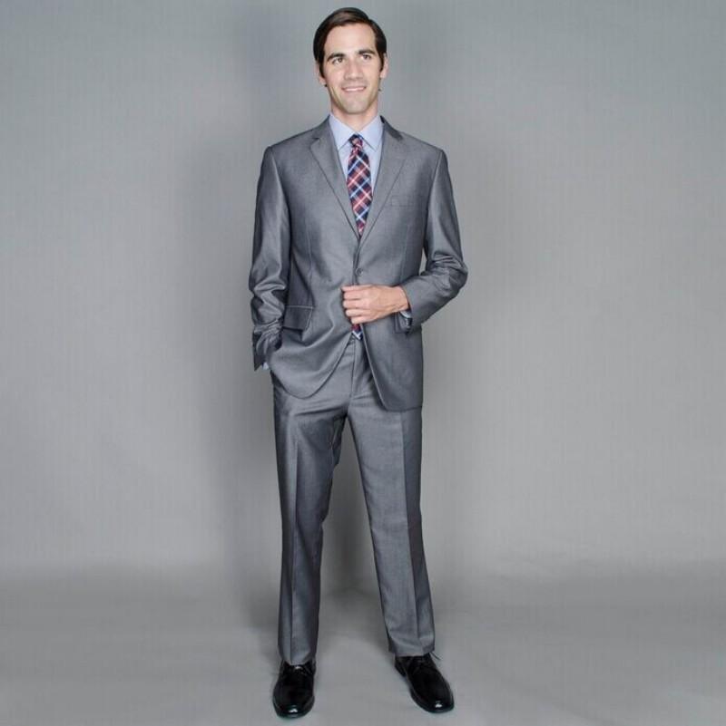 Top Selling Slim Fit Groom Tuxedo Grey Man Wedding Suit Custom ...