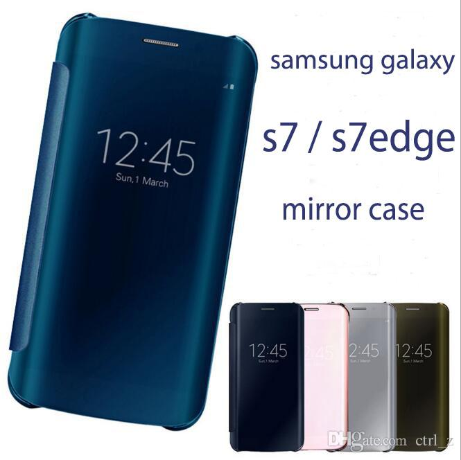new arrival 04672 6a5d6 S7 EDGE Newest Luxury Clear View Mirror Flip Electroplating Phone Cases For  Samsung Galaxy S7/S7Edge Hard Covers Free Film