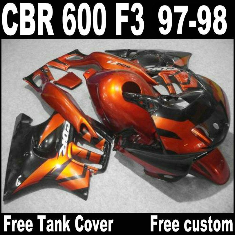 Carene di alta qualità HONDA CBR600 F3 1997 1998 Carrozzeria moto nera marrone CBR 600 97 98 carenatura QY20