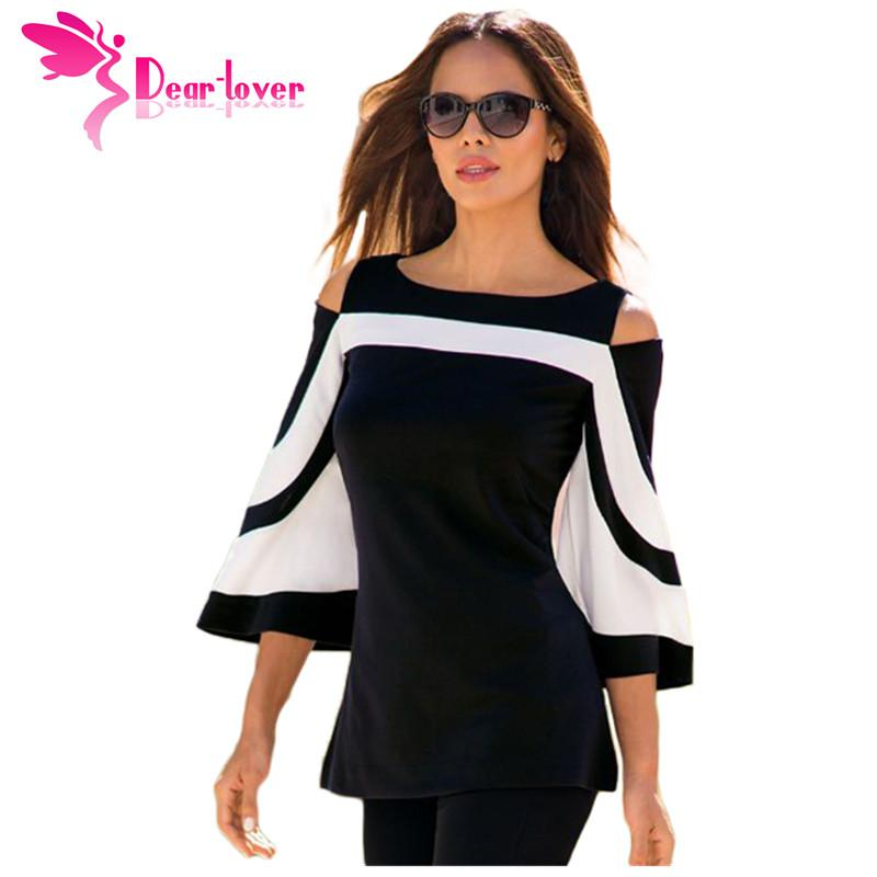 DearLover Women Blouse Black White Colorblock Bell Sleeve Cold Shoulder Top Mujer Camisa Feminina Office Ladies Clothes LC250605 q1113
