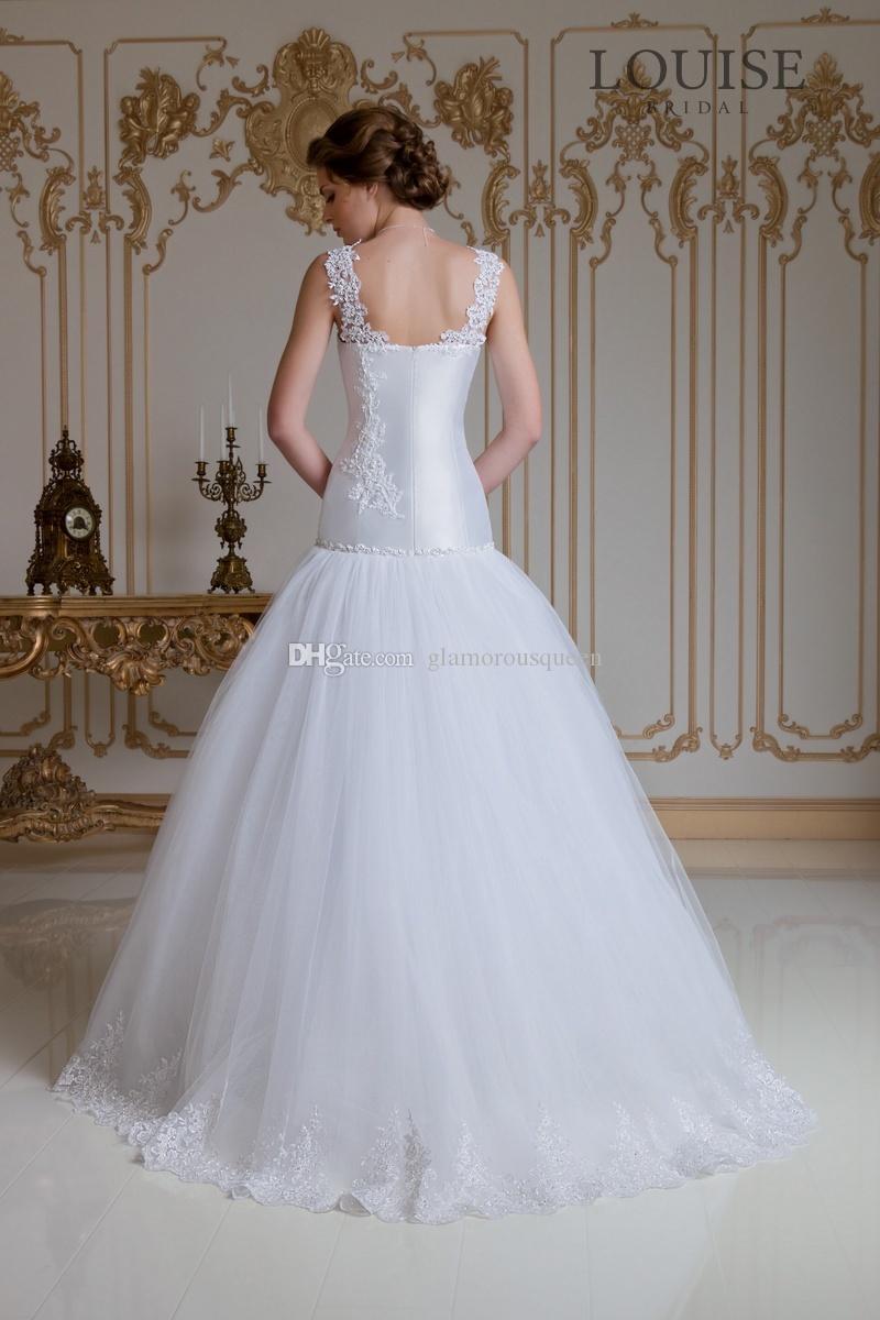 가장 인기있는 A 라인 V 목 바닥 길이 화이트 Organza 레이스 웨딩 드레스 2016 레이스 저렴한 가격의 신부 가운 민소매 가운