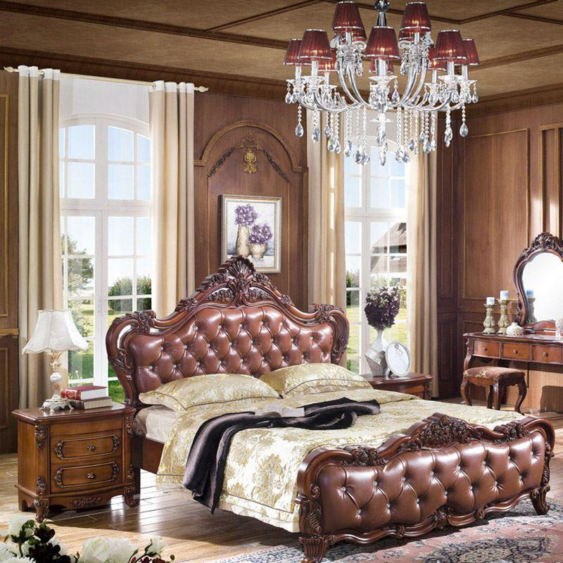 2017 American Leather Wood Bed European Style Carved Leather Beds ...