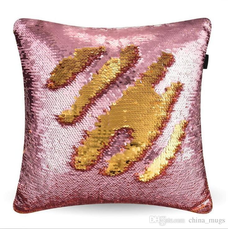 beddingoutlet diy mermaid sequin cushion cover magical pink throw