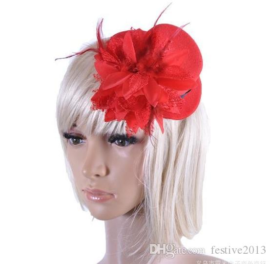 Fashion women bride hat cap wedding ribbon gauze lace feather flower Mini top hats fascinator party hair clips caps millinery hair jewelry