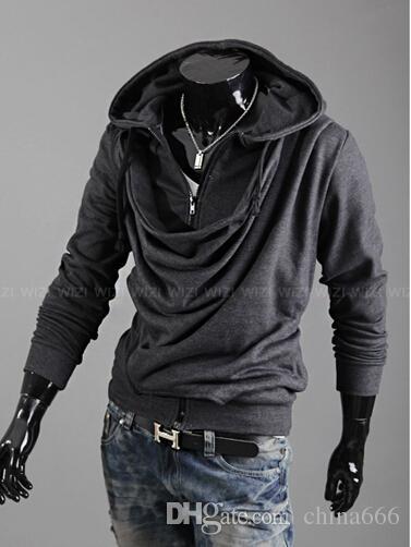 2015 moda heap colarinho maré projeto homens personalidade casual Slim Stayed casaco com capuz casaco cardigan. @ 897f