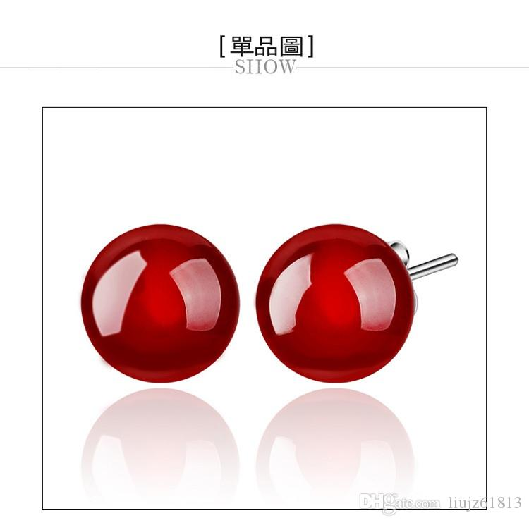 New fashion 925 sterling silver fine Jewelry Natural Onyx stone stud earring Ruby red agate Earrings for women fashion jewelry