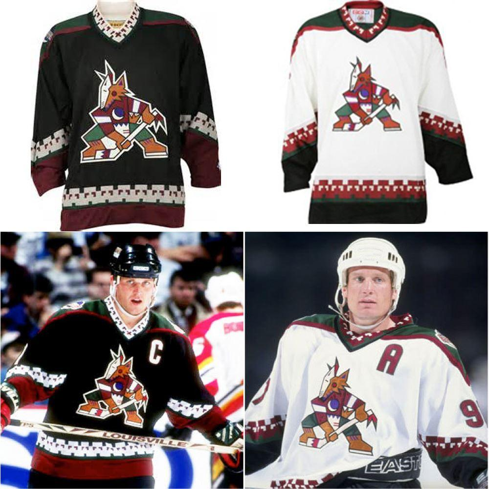 ... best price 2019 factory outlet custom arizona phoenix coyotes jersey  black white classic old style stitched 20722a155