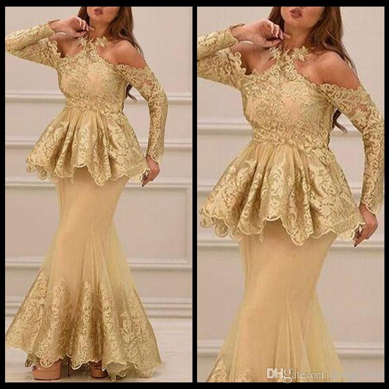 Gold Evening Dress Lace Plus Size Long Sleeve Mermaid Prom Dresses
