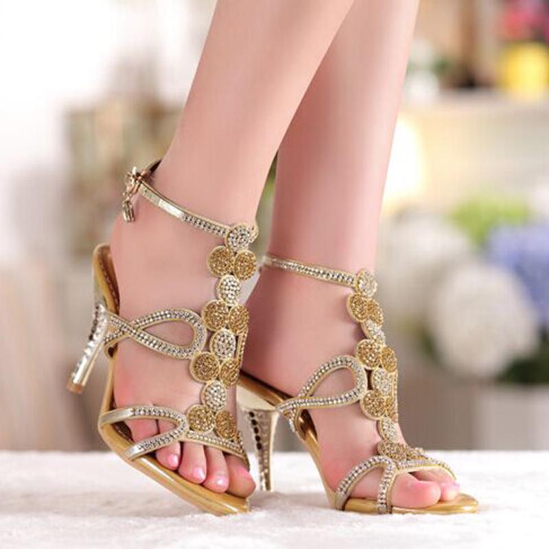 Popular Gold & Blue Sandals Floral Rhinestones 8cm High Heels Prom Evening Party Dress Women Lady Bridal Wedding Shoes