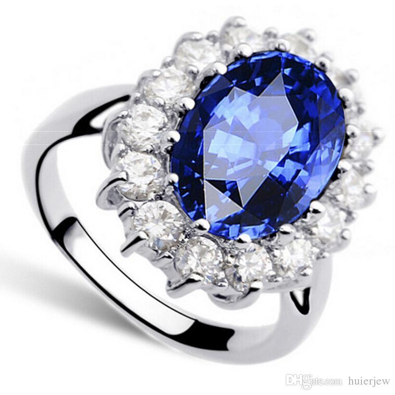 خواتم الزفاف 925 الفضة الاسترليني مطلي خواتم الزفاف الكريستال النمساوي الذهب الأبيض مكعب زركونيا خواتم الماس الأحجار الكريمة الياقوت
