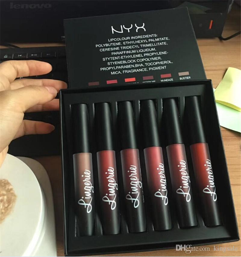 New Arrival NYX Lingerie Liquid Matte Lipstick 6pcs/set nyx 6 colors Luxury Velvet Matte Nude Lip Gloss
