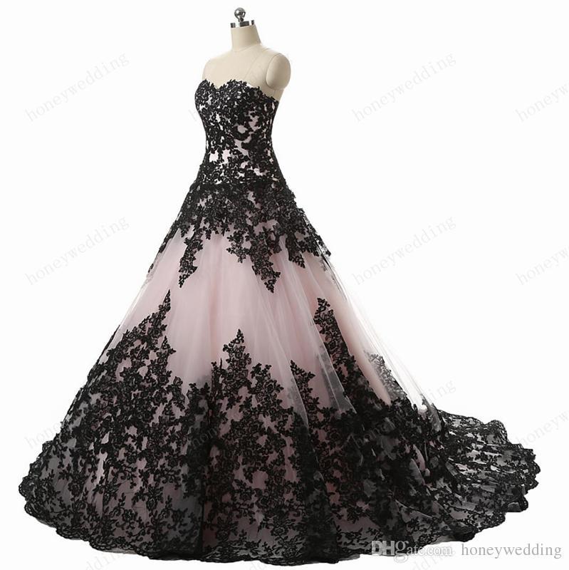멋진 진짜 사진 웨딩 드레스 2016 새로운 애인 핑크 얇은 명주 그물 레이스 Appiques 레이스 위로 볼 가운 신부 가운 맞춤 제작