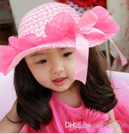 abf1a3cda2e Children s Caps Visor Hats Sweet Baby Girl Lace Flower Straw Hat ...