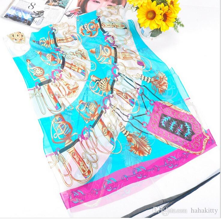 HWJ127 Nuove donne sciarpa morbida moda Sciabola stampa sciarpa di seta chiffon i. Alto livello. 160x50 cm. 30 pz / lotto DHL libero