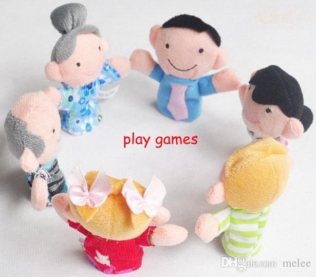 / Velvet Family Finger Puppet 6 poupées en tissu jouet jouet d'assistance Soft Plush Educatfor poupées