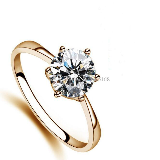 Best Lovers Gift Whited Gold Plated Use Swarovski Crystal Simulation of Diamond 1ct Bridal wedding ring Gift Charming Jewelry