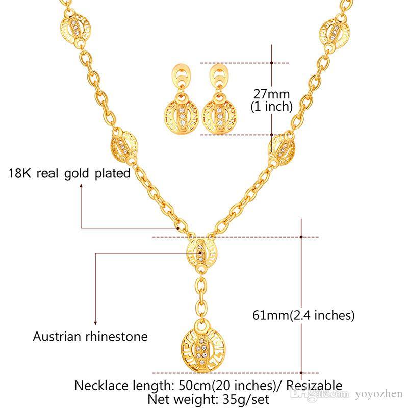 Frauen Hohl G Muster Gold Ohrringe 18 Karat Echt Gold Überzogene Strass Afrika Vintage Charme Halskette Set