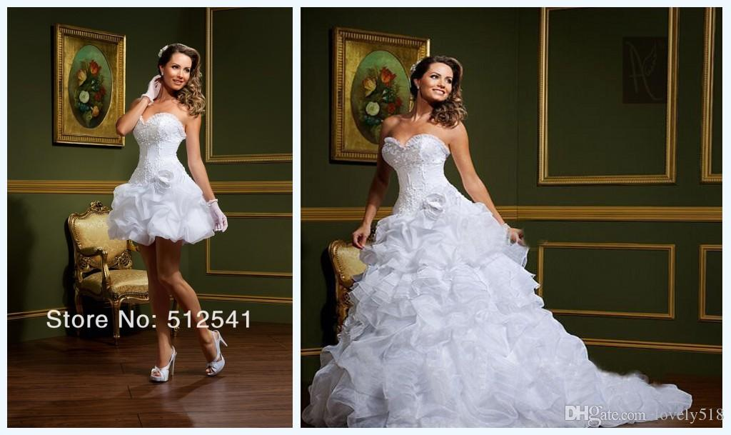 Cheap Wedding Dresses To Hire: 2015 New Elegant Detachable Two Pieces Beautiful