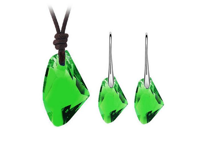 Austrian Crystal Necklace Earrings Sets 18KGP Alloy Jewelry Set Wishing Store Jewelry For Women Best Gift 8195