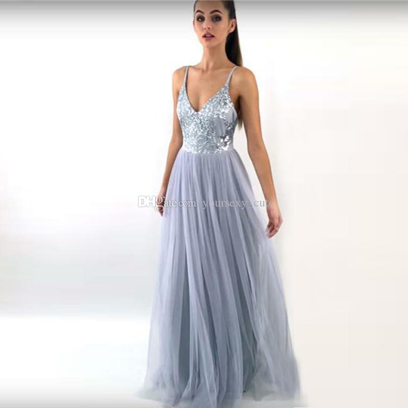 Evening Dresses New Fashion 2018silver Sequin Evening Dress Long 2018 A-line V Neck Floor Length Lace Prom Dress Women Formal Prom Evening Gown Abendkleider