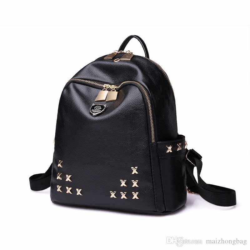 Rivet Fashion Designer Backpack New Arrival 2017 Famous Brand School ... 1fc36209f7bd7