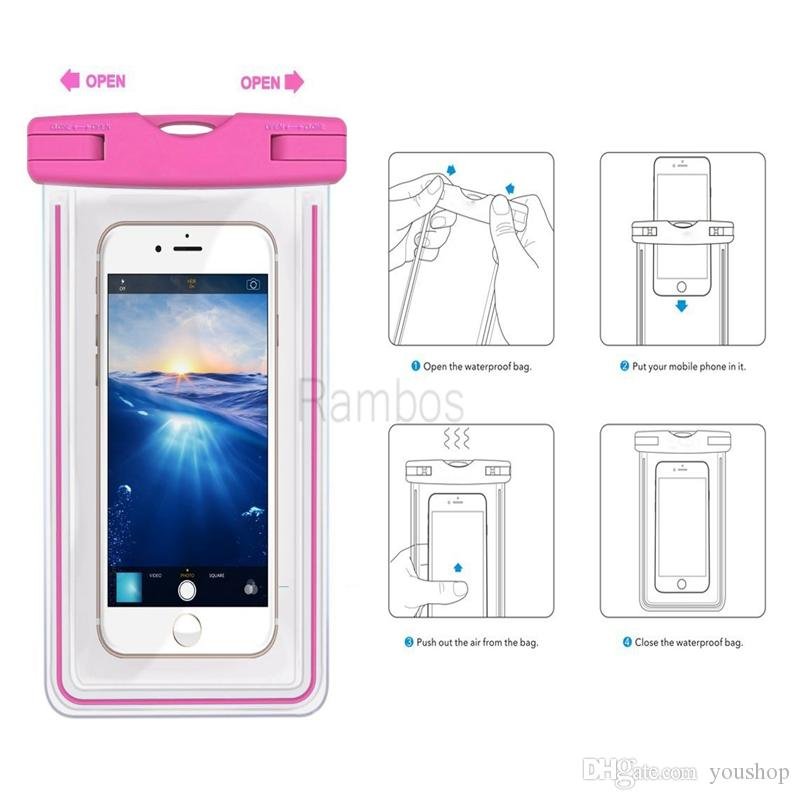 100 Feet IPX8 PVC Waterproof Pouch Swimming Waterproof Case Cover Bag for iphone 6S 6S Plus for Samsung Galaxy S6 Edge