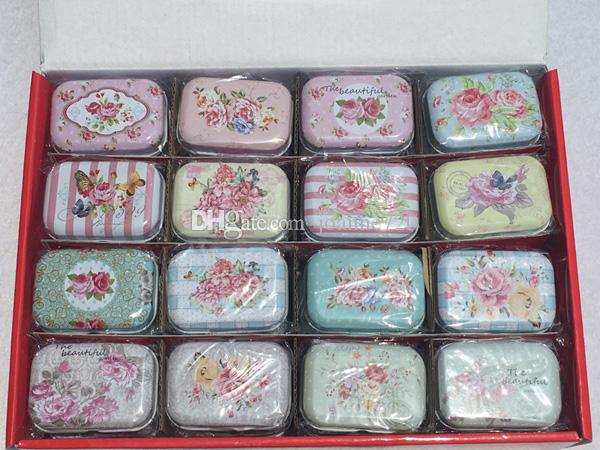 flowers design series Storage Jewelry Decorative Tin Box Lids Candy Earphone Ring Christmas Wedding Gifts Boxes