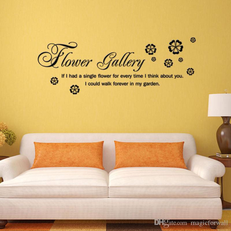 꽃 갤러리 벽 예술 데칼 스티커 만약 내가 벽 견적 포스터 홈 인테리어 벽 새해 당신에 대해 생각하는 모든 시간을 하나의 꽃을했다
