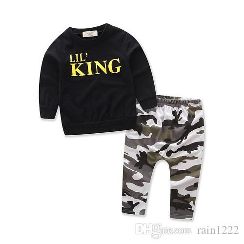 Kids Clothing Sets Autumn Winter Boys Long Sleeve T-shirts + Pants Outfits Suits Children Casual Black Tops Camouflage Clothes 1-6Years Old