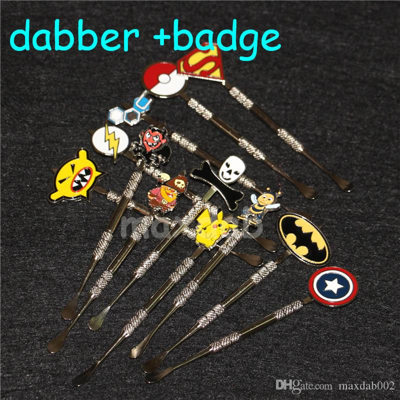 Wax dabber tool wax atomizer stainless steel dab titanium nail clean tool for dry herb with Flash,Captain,Batman,Superhero Badges
