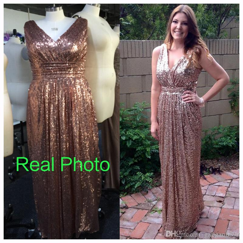 Sequined Formal Maternity Evening Dresses V Neck Rose Gold Real