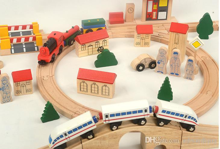 Thomas Wood Train Model, with Track and Motor, DIY Intelligence-Improved, High Quantity Simulatio,Kid' Gifts, Collecting, Home Decoration