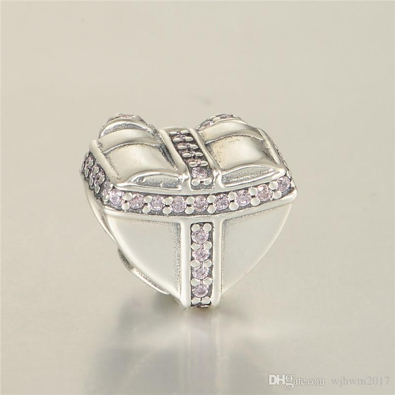 Valentine's Day Bow Heart Charms Bead 925 Sterling Silver Pave Pink Crystal Beads For DIY Brand Bracelets Jewelry Making Accessories