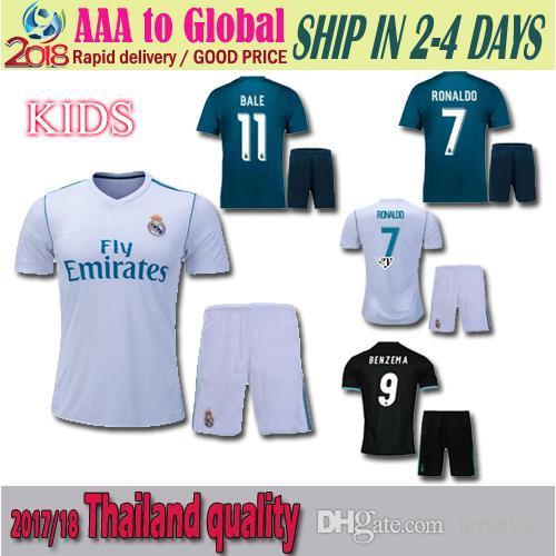 e772f690b 17 18 Real Madrid Kids Home Away Jersey 2018 Ronaldo Soccer Jersey ...