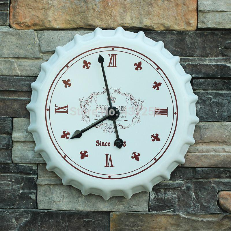 decorative kitchen wall clocks beer cap clock decor wrought iron