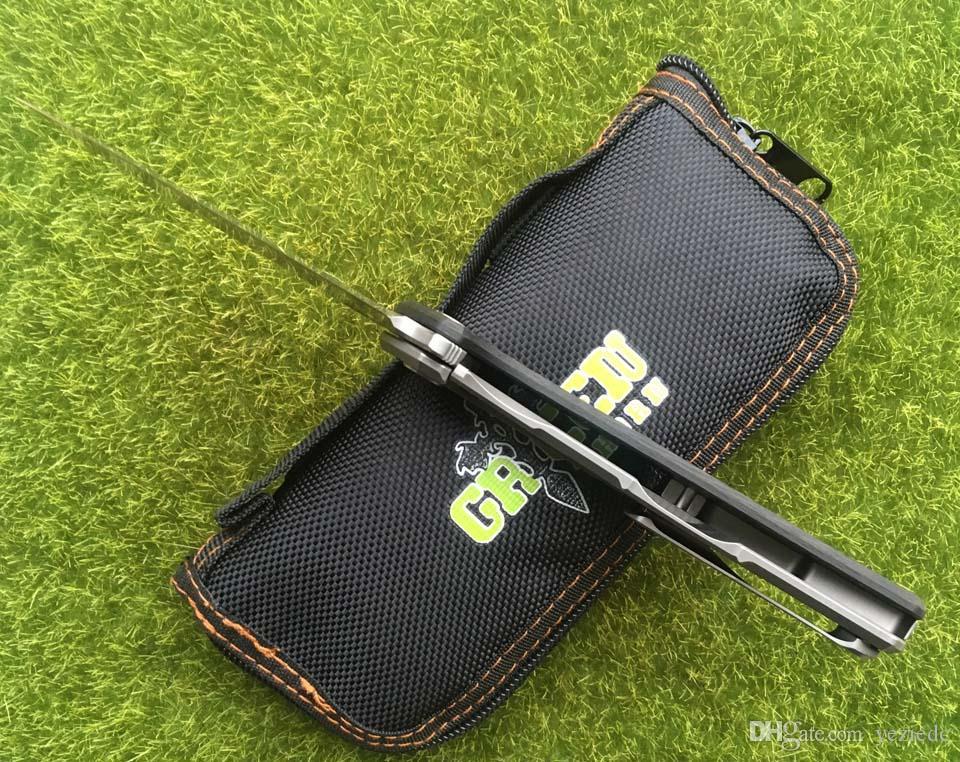 GRÜN THORN NEUE M390 F95 HATI Titan + CF Griff Flipper Klappmesser Outdoor Camping EDC Werkzeuge Jagd Wandern Taschenmesser Überleben
