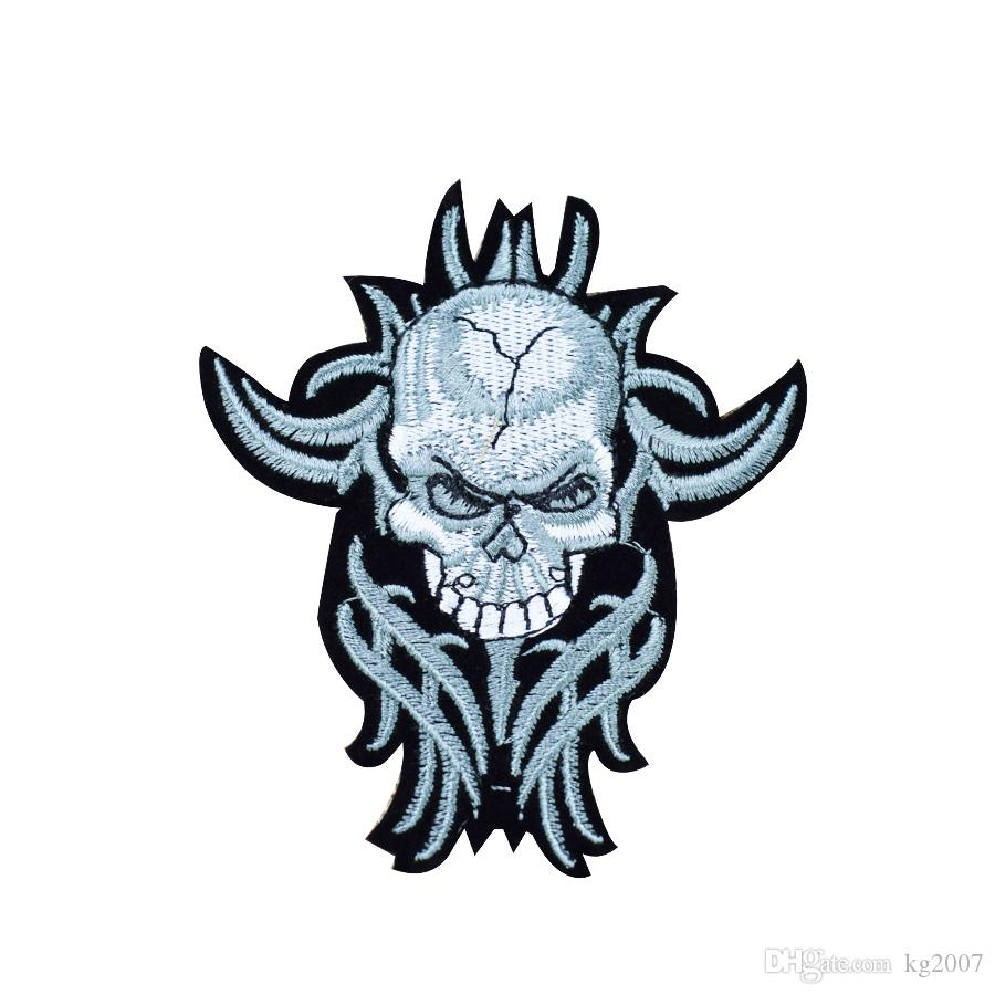 Punk Skull with long Beard Patches for Clothing Iron on Transfer Applique Patch for Jacket Jeans DIY Sew on Embroidered Badge
