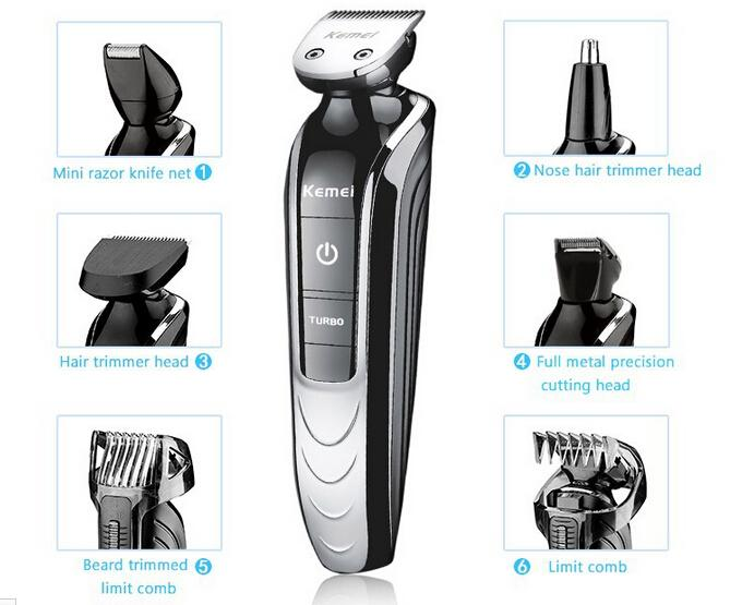 All-in-One Trimmer with 7 attachments Electric man grooming kit hair clipper trimer shaver beard nose rechargeable cutting haircut tool