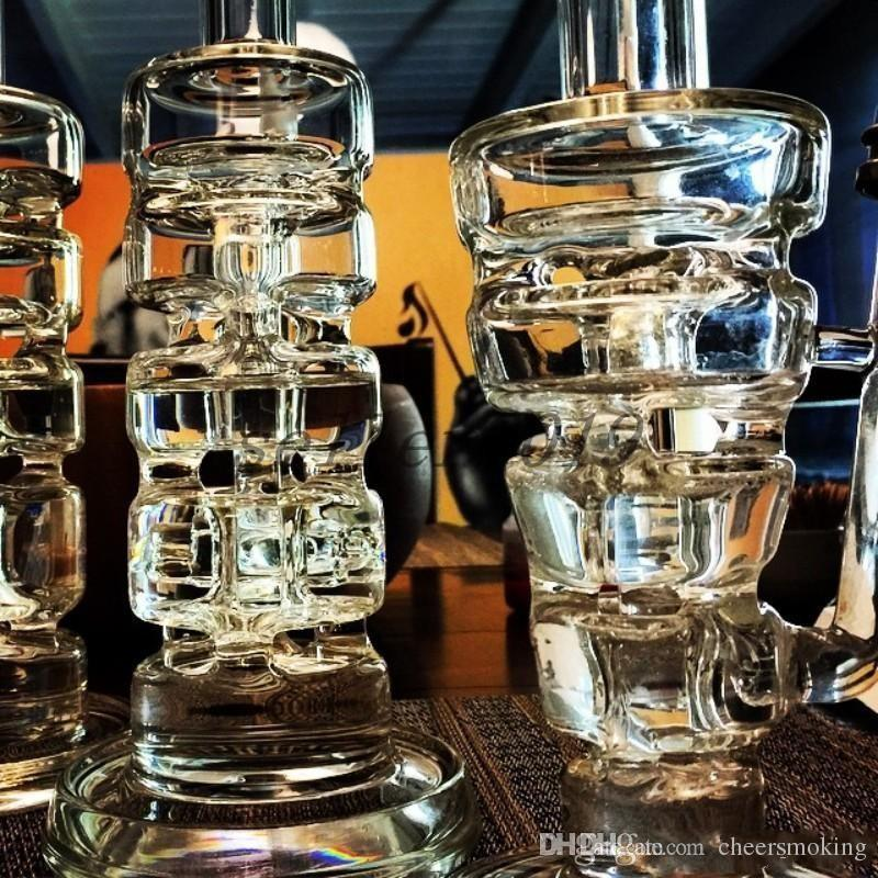 Glass bong Hitman Glass Sundae stacks Glass oil rigs water pipes thick and sturdy glass with 14.5mm male joint Cheap In Stock