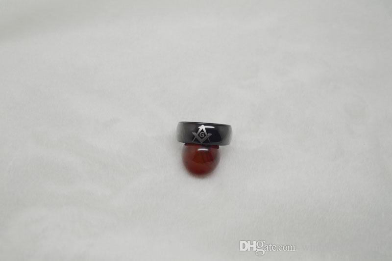 Anneau de tungstène maçonnique Anneau plaqué noir